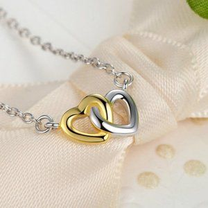 PANDORA Silver Interlocked Hearts Collier Necklace